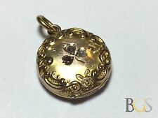 Diamond - Ruby - Pearl - 10K YELLOW GOLD Pendant Locket - Ornate - 3 Leaf Clover