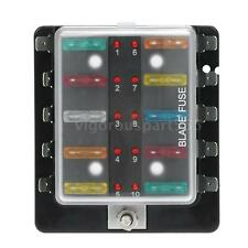 10 Way Blade Fuse Box Holder LED Warning Light Kit for Car Boat 12V 24V New K5E3