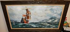 J.CHRISTMAN HUGE OIL ON CANVAS PIRATE SHIPS SEASCAPE PAINTING