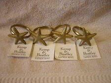 Set Of 4 Kemp And Beatley Brushed Gold Color Starfish metal Napkin Rings