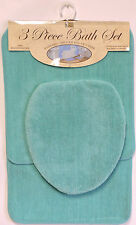 3 Piece Bath Rug Set  Turquoise Bathroom Mat Contour Rug Lid Cover