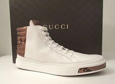 $850 Authentic Gucci White Leather/Python High Top Sneakers 375084 size US 9