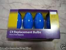New ! 4PK C9 Replacement Blue Bulbs 120v 7W 60Hz AC