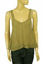99782 NWD Free people Sensual Embroidered Drippy Tank Green Blouse Top S 4