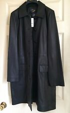 New Brooks Brothers Black Soft Leather Button Jacket Trench Coat Woman NWT Siz 8