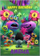 Trolls Movie Poppy Branch Birthday Card A5 Personalised with own words