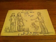 vintage pencil sketch man greeting family and dog after coming home from a trip