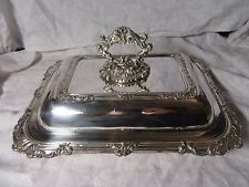 Vintage Large Silver Plated BAROQUE Design COVERED SERVING ENTREE DISH 1.75kg
