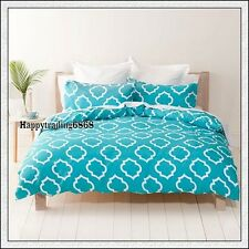 White Turquoise Blue Stylish Print Soft Touch *3pc DOUBLE QUILT DOONA COVER SET