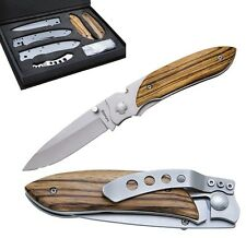 BALADEO LAGUIOLE RIVIERA FOLDING KNIFE SET / ZEBRA WOOD w. GIFT BOX