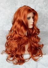 Long Wavy Copper Orange Skin Top, No Bangs, Full Synthetic Wig - #92