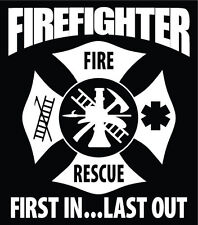 Firefighter Decal Maltese Cross Car Window Vinyl Sticker Custom Text