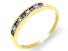 9ct Yellow Gold 0.25ct Natural Sapphire & Diamond Half Eternity Ring Size: O