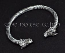 Viking Wolf Head Solid Hand Crafted Norse Brass Bracelet Bangle Asatru Fenrir