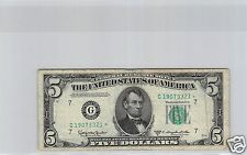 USA ETATS-UNIS FEDERAL RESERVE NOTE $5 DOLLARS 1950 D N° G19073321 ETOILE