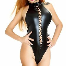 Sexy Womens Faux Leather PVC Wet Look Bodysuit Catsuit Leotard Lace Up Top Thong