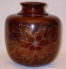 Vintage Antique Japanese Lotus Flower Carved Lacquered Cherry Wood Vase Bowl
