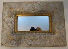 RECTANGULAR ANTIQUED WHITE AND GOLD DECORATIVE WALL MIRROR
