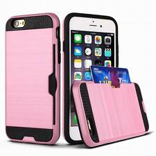 HARD HYBRID METALLIC FUSION CREDIT CARD ID SLOT HOLDER CASE For iPHONE 6S 7 PLUS