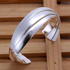 925 sterling silver Big smooth solid cuff Unique hot bangle bracelet jewelry B44
