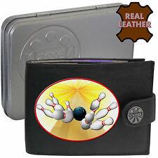 Clavijas de bola de boliche klassek Mans Cuero Billetera Accesorio 10 Pin estaño regalo presente