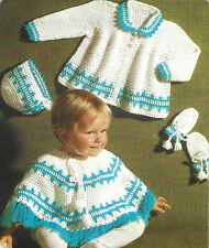 "Baby Poncho, Coat, Bonnet and Mitts Crochet Pattern 4ply 20"" 693"