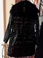 VINCE CAMUTO FAUX FUR COLLAR QUILTED DOWN WALKING COAT BLACK SIZE MEDIUM