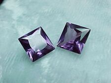 8x8mm Princess Pair Created Russian Cut Color Change Alexandrite! Purple To Pink