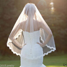 White Lace Wedding Bridal Veils Cheap One Layer Bridal Accessories