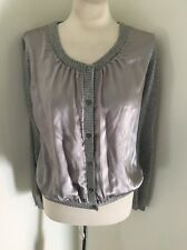 MOSCHINO CHEAP AND CHIC Mixed Media Silk & Cashmere Gray Cardigan Sweater Sz M L