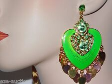 Valentine's Day NEON GREEN CHANDELIER HEART EARRINGS ENAMELED,RHINESTONE CRYSTAL