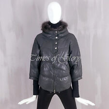 Auth Brunello Cucinelli FUR Collar LEATHER Goose Down Puffer Jacket Size S IT42