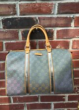 GUCCI Multi Color Gray Grey Joy Boston Monogram Doctor Bag Coated! RARE