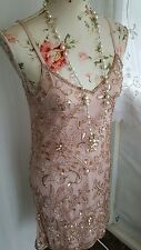 Vtg 1920,s style Downton Gatsby blush pink gold beaded wedding flapper dress 8