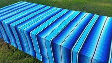 """Mexican Blanket Sarape Saltillo Two Tone/ Light Blue (Large 60"""" x 84"""")"""