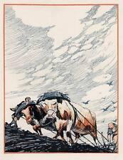 FELDARBEIT mit OCHSENGESPANN  Georg Oskar ERLER - Zinkätzung des JUGENSTIL 1910