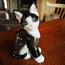 Vintage Rosenthal Germany Black White Sitting Cat-Figurine Designer Karner 1950