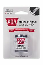 Pack of 4 100 yard POH Dental Floss Classic Unwaxed Classic 490 Pure Nylon
