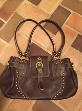 MAXX New York Brown Leather Gold Studded Satchel Handbag