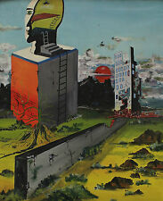 Signed Claude De Pruw ? - Surreal Fantasy with Wall Building and Head