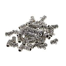 50pcs Tibetan Spacer Bail Beads Tube Charms Pendants 1.1x0.5cm