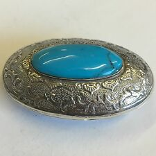 Vintage Antique Style Solid Silver Large Turquoise Pill / Trinket Box 5.5cm