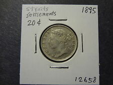 STRAITS SETTLEMENTS 1895 SILVER 20 CENTS, RARE TYPE, FRESH EF !
