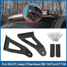 "50"" Curved Led Light Bar F150 Roof Upper Windshield Mount Brackets for Cherokee"