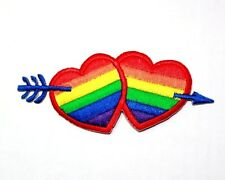 Rainbow Arrow Hearts Fancy Cupid Erotic Love Hippy Retro T-Shirt Iron on Patch