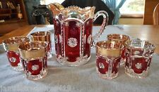 TARENTUM GLASS RUBY FLASH FROST CRYSTAL/PEERLESS WATER PITCHER AND TUMBLERS SET