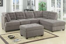 Charcoal Waffle Suede Sectional Sofa Couch Cocktail Ottoman Chaise Furniture
