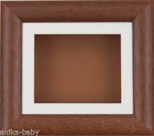 15.2x12.7cm Madera Oscura Caja marco fotos Crema soporte & Marrón Dorso Objetos
