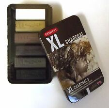 DERWENT XL CHARCOAL TIN of 6 fine art charcoal blocks