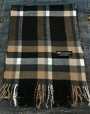 100% Cashmere Scarf Black Beige Check Plaid Made in Scotland SOFT Warm NEW